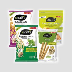 Snatts multicereal - Snatts de guisantes, hummus - Palitos de cereales con pipas